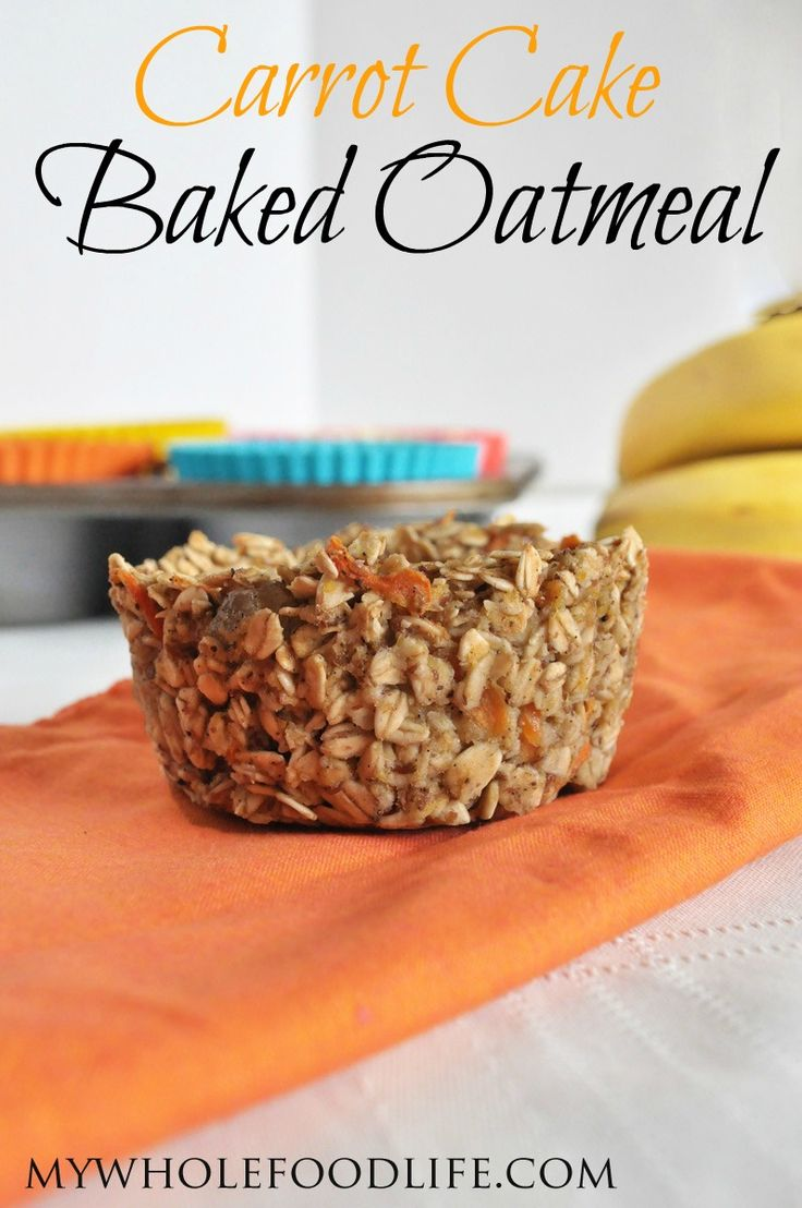 Carrot Cake Baked Oatmeal.  It's the taste of carrot cake in your morning oatmeal. Make them this week for a healthy and satisfying breakfast! #vegan #glutenfree #healthyrecipe #breakfast: Carrot Cakes, Baking Oatmeal, Cakes Oatmeal, Cakes Baking, Carrots Cakes, Gluten Free, Food Life, Oatmeal Muffins, Oatmeal Recipes