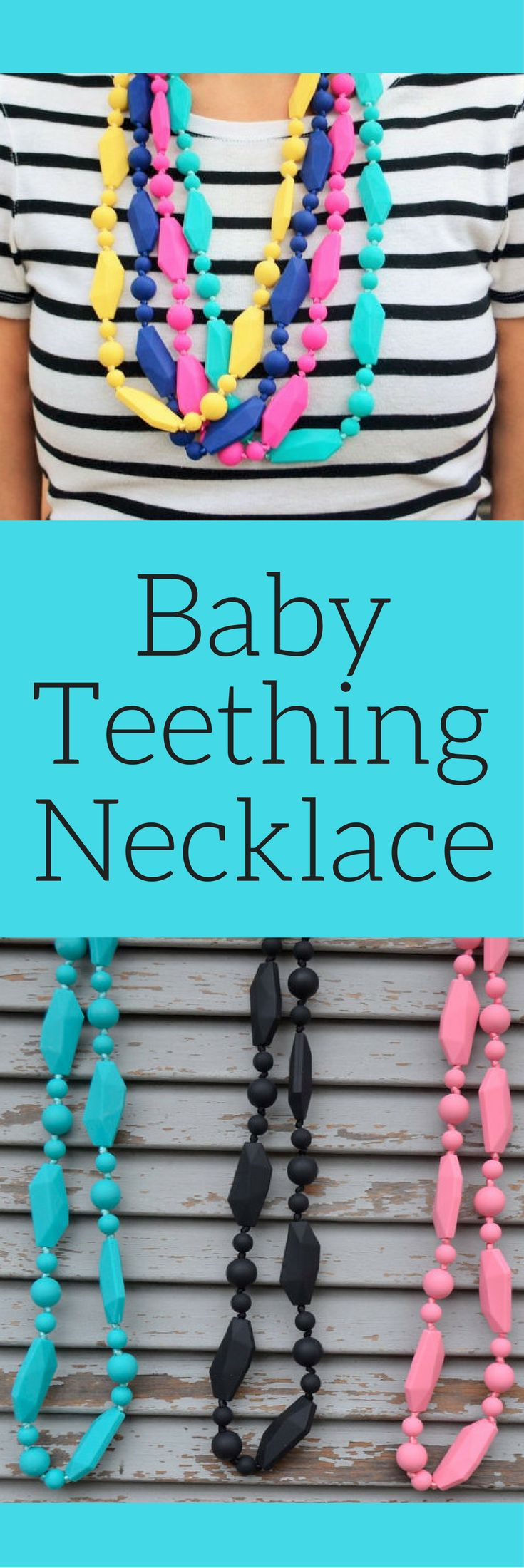 Silicon Baby Teething Necklace - Baby Shower Gift New Mom Gift - Chew Beads, Baby Teething bead necklace, baby gift idea, baby shower gift idea #ad #affiliatelink