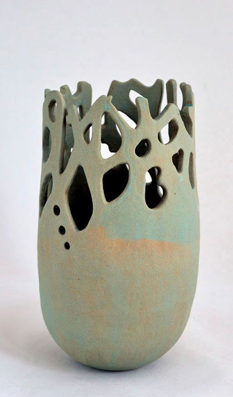 Vase with incised and cut-out details Ann-Decker