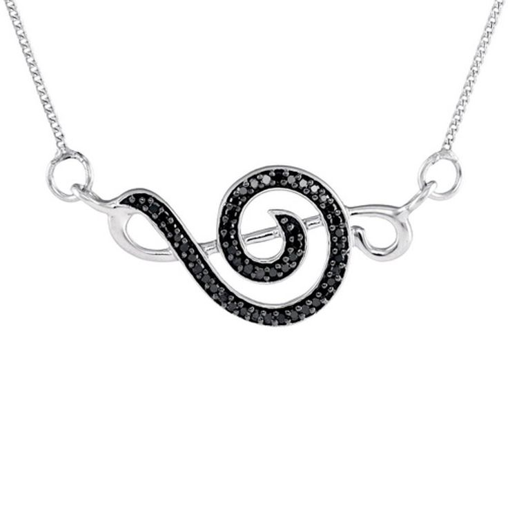 Treble Clef Design Black Diamond Necklace with Sterling Silver 1/8 CTW 47 Diamonds. Sterling silver with rhodium plate - won't tarnish. Total of 47diamonds. Total diamond weight of 1/8 carat. Beautifully packaged in jewelry gift box.