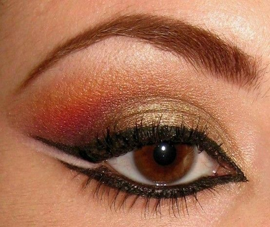 Belly Dance makeup with orange and gold. let your beauty shine with Belly Dance Lessons Online