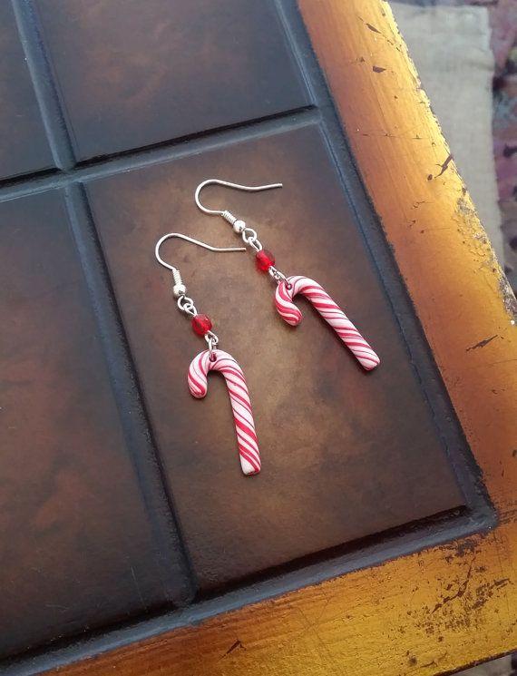 Peppermint Stick Festive Earrings  Christmas by EvasCreationsShop