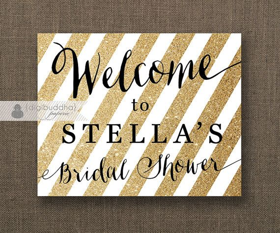 Gold Glitter Stripe Welcome Sign Black & Gold Bridal Shower or Wedding by digibuddhaPaperie, $7.00