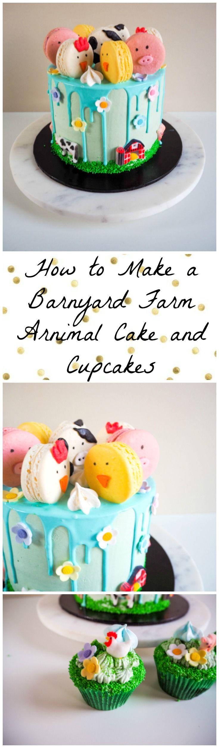 How to make a Barnyard Farm Animal Cake and Cupcakes