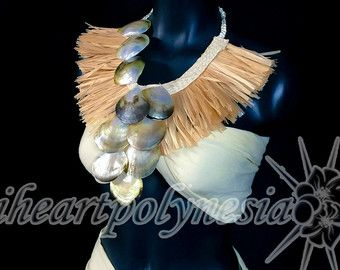 Simple Tahitian dance costume feather neck by iheartpolynesia                                                                                                                                                                                 More
