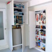 Hide your water heater behind built in cabinets for garage or laundry room @ Custom Corvette Garage Makeover