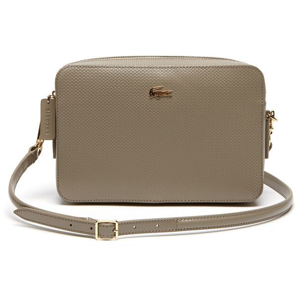Lacoste Women`s Chantaco Leather Crossover Bag - Square Format ($215) ❤ liked on Polyvore featuring bags, handbags, shoulder bags, leather shoulder bag, leather purses, lacoste purse, real leather handbags and leather handbags