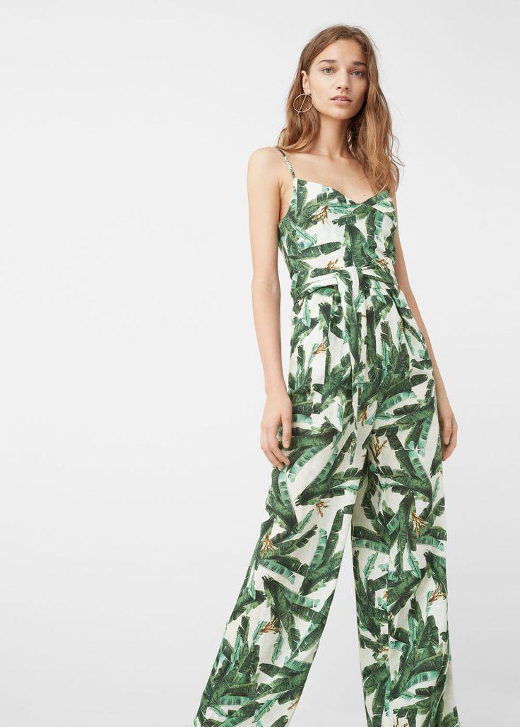 Tropical print jumpsuit | MANGO