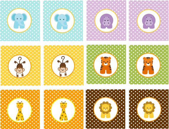 BABY JUNGLE ANIMALS Printable Cupcake Toppers by traditionsbydonna, $8.00