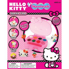 Store your beads in style with the Hello Kitty Sparkle Case! Set includes over 600 jewel and classic beads. Enjoy making Hello Kitty in Aquabeads! Set also includes a convenient spray bottle, Hello Kitty bead case, layout tray, 4 Hello Kitty design templates and instructions.