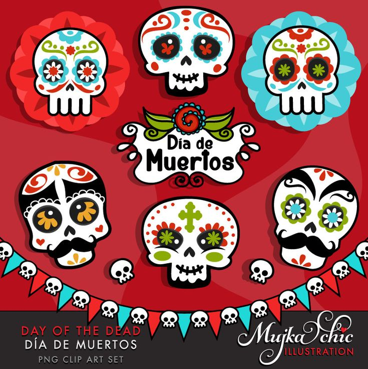 Day of the Dead Clipart. Sugar skulls clipart, Día de ...