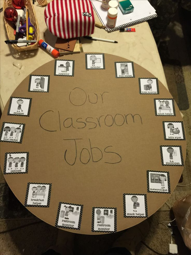 Use lazy Susan - put picture and name of jobs, kids can ...