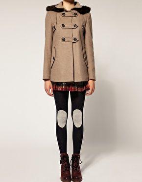 Tartan skirt peeking out from adorable coat! Love!