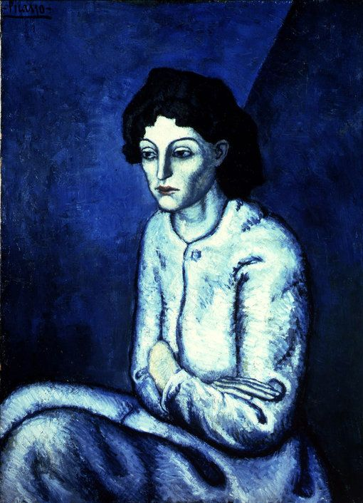 """""""Pablo Picasso's 'Woman with Crossed Arms,' 1902, oil on canvas. The painting is from the artist's celebrated Blue Period, which began after Picasso learned of a friend's suicide in 1901. He fell into a severe depression, and began painting images of beggars, drunks and other unfortunates--all rendered in a blue palette."""" (""""The Blues Have It"""" photograph, NYTimes.com)"""