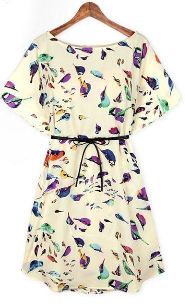 Beige Batwing Short Sleeve Birds Print Shift Dress