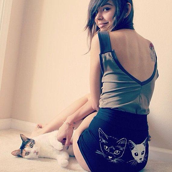 high waist cat shorts