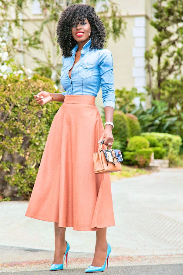 Fitted Denim Shirt + Midi Swing Skirt