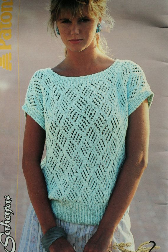 Knitted Summer Tops Patterns : Sweater Knitting Patterns Summer Women Cotton Sahara Beehive Patons 484 Worst...