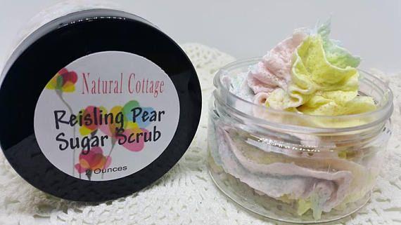 Rainbow Foaming Sugar Scrub in Reisling Pear for Sensitive Skin #rainbow #sugarscrub #exfoliating #moisturizing #sensitiveskin #naturalcottage #foamingfacewash #foamingbathwhip #bodybutter