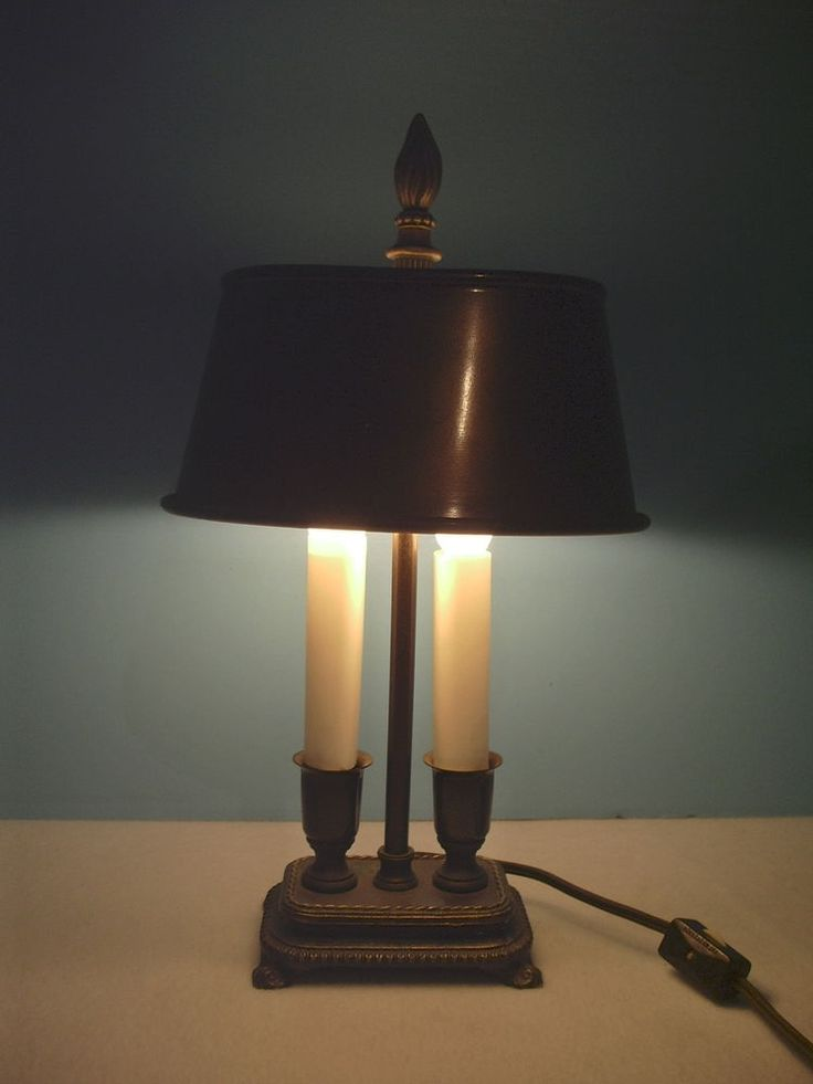 Lamp Desk Or Table Double Candle Oval Shade Brass Base On Off Switch Works