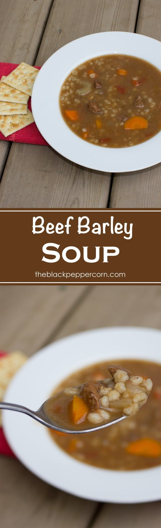 Homemade Beef Barley Soup - This traditional homemade beef barley soup recipe is a classic with stewing beef, carrots, celery, onion, tomatoes and barley in a wonderfully rich broth. via @blackpeppercorn