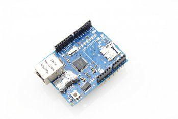 W5100 Ethernet Shield for Arduino http://www.elecrow.com/w5100-ethernet-shield-for-arduino-p-670.html