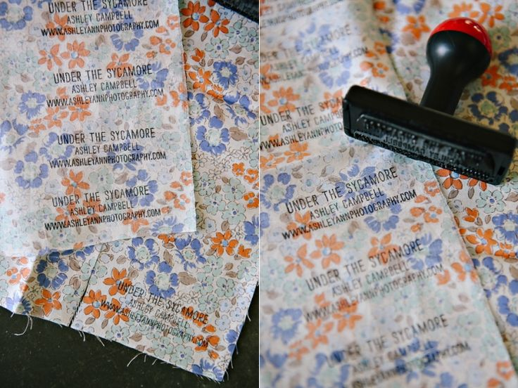 Stamp fabric for super simple DIY business cards