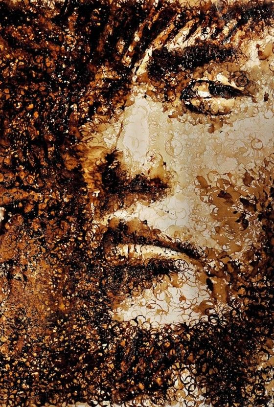 Artist Hong Yi. Coffee portrait (coffee stain rings).