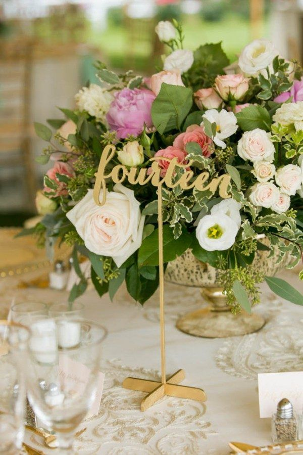Laser-cut script table number | Image by Melani Lust Photography