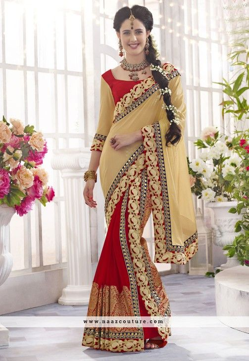 Pristine Patch Border Work Red Designer Saree