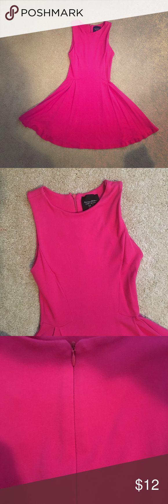 🎉FLASH SALE🎉 Zara Skater Dress Simple chic skater dress from Zara, high scoop neck, pink zipper back closure Zara Dresses Mini