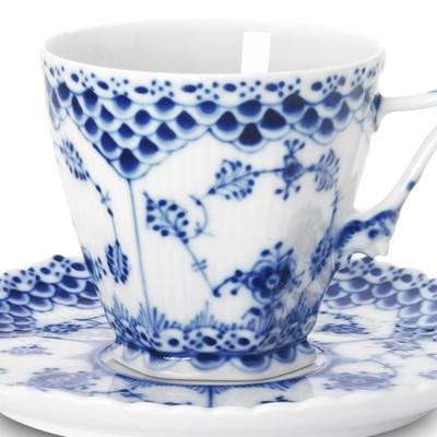 Royal Copenhagen Blue Fluted Full Lace cup and saucer