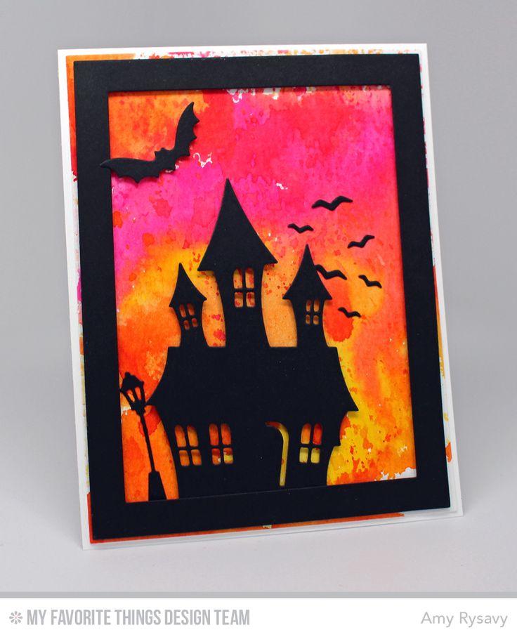 Frightfully Fun Halloween, Rectangle Frames Die-namics, Spooky House Die-namics - Amy Rysavy #mftstamps