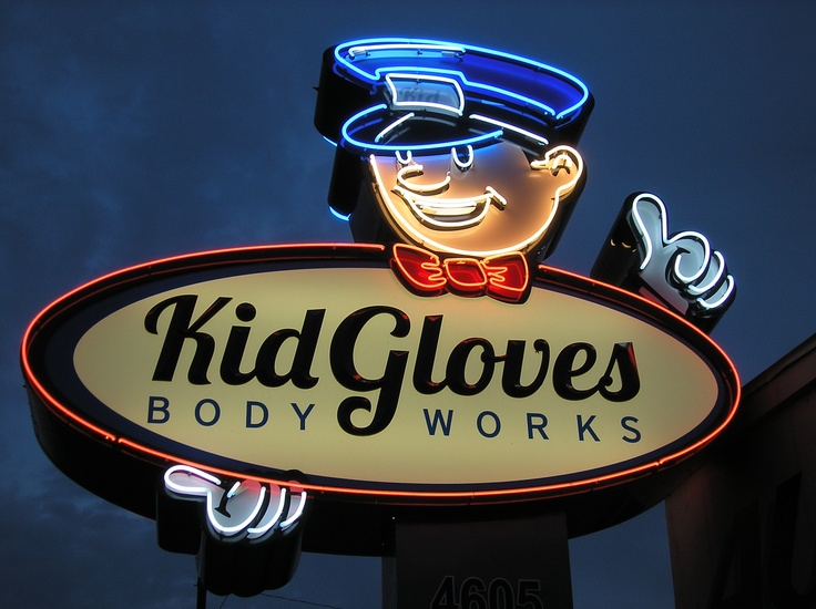 Kid Gloves Body Works - Cool Neon Sign. Garden City, Idaho.