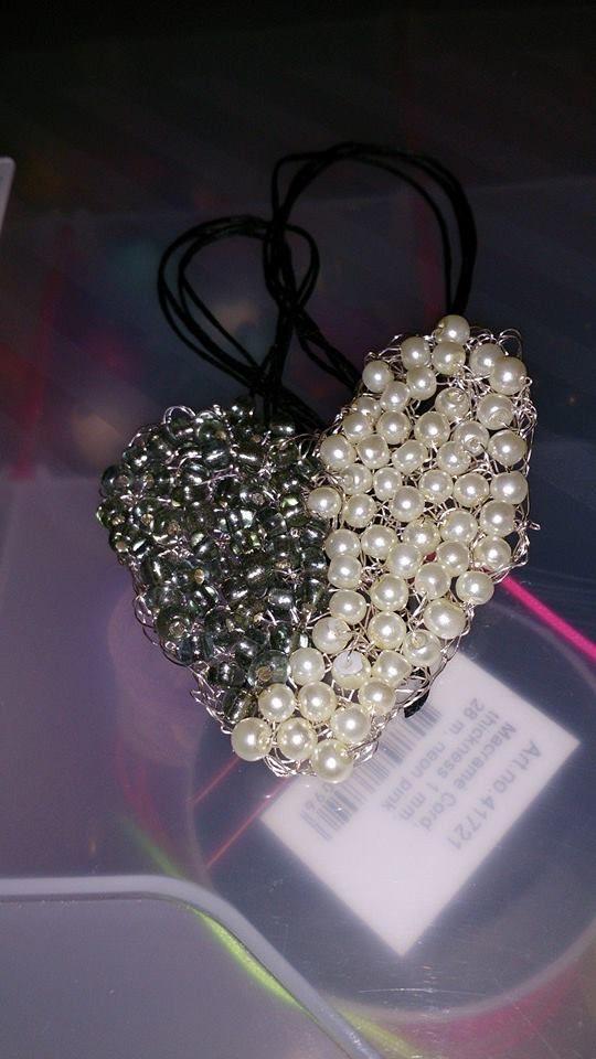 wire crochet necklace heart, statement piece