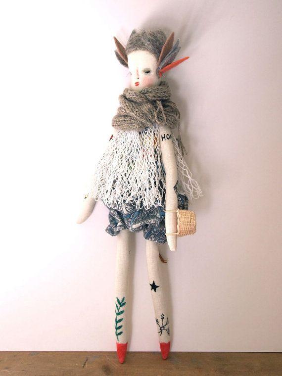 Jess Quinn - Tattoo Folk doll hand crafted art doll hand
