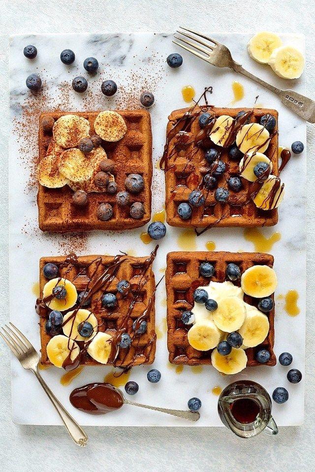 Healthier Chocolate Banana Waffles - Domestic Gothess