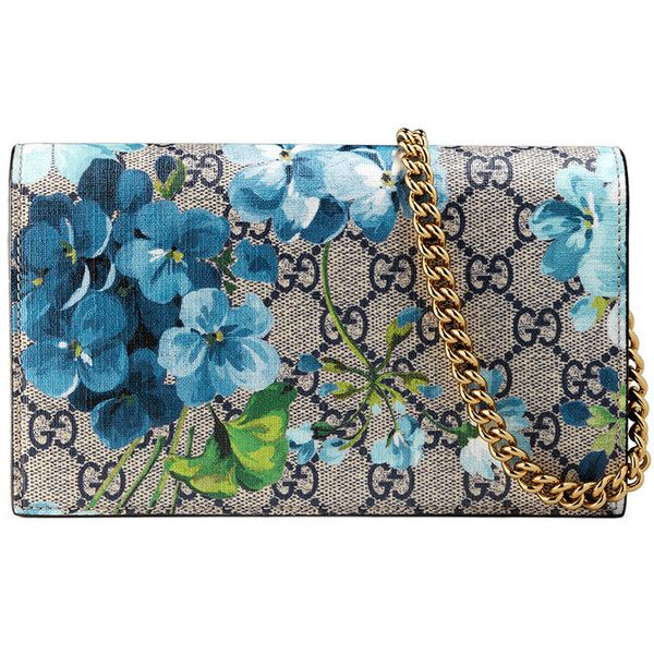 Gucci GG Blooms Supreme Chain Wallet (14,355 MXN) ❤ liked on Polyvore featuring bags, wallets, blue multi, canvas wallet, floral canvas bag, gucci, canvas bag and flap bag