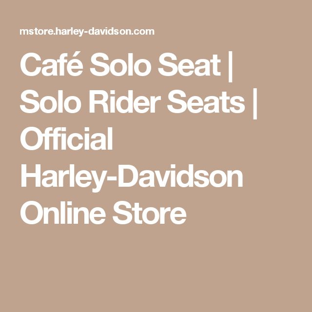 Café Solo Seat | Solo Rider Seats | Official Harley-Davidson Online Store