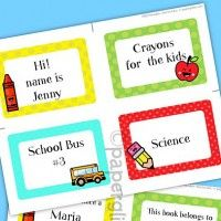 All sorts of school-related printables