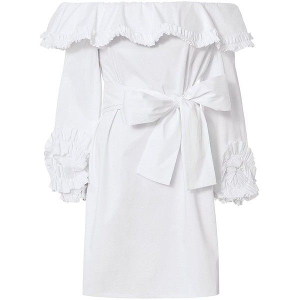 Alexis Women's Miquela Off Shoulder Ruffle Dress (675 BGN) ❤ liked on Polyvore featuring dresses, white, off-the-shoulder dress, white off the shoulder dress, white pleated dress, off-shoulder dresses and long sleeve off the shoulder dress