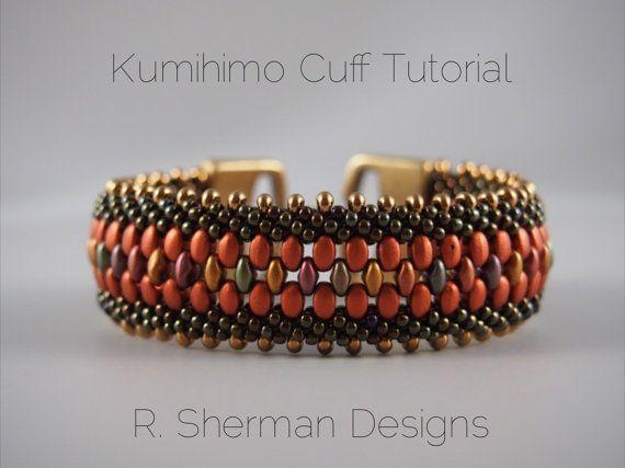 PDF TUTORIAL for sale - Kumihimo Beaded Cuff Bracelet
