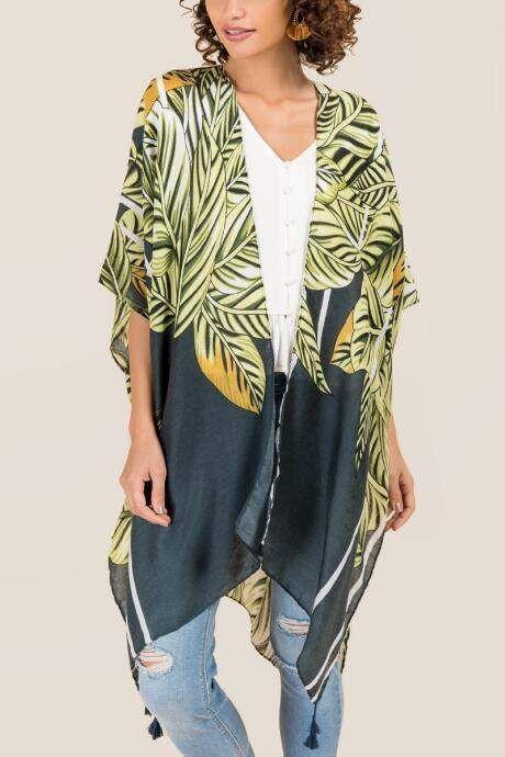 c1357bf91 #ad Francesca's Marina Palm Tree Ruana - Green. kimono. boho. layers.  fashion. fashion blogger