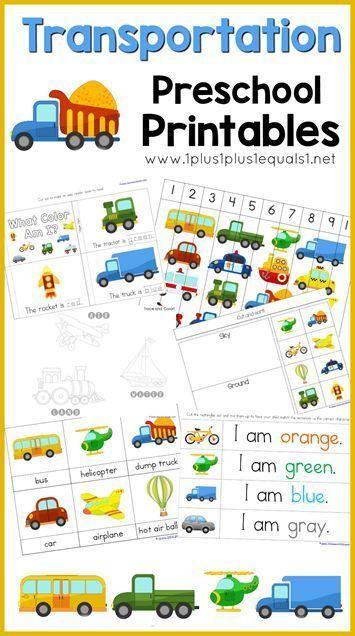 Transportation Preschool Pack ~ free transportation theme printables for Tot School and Preschool