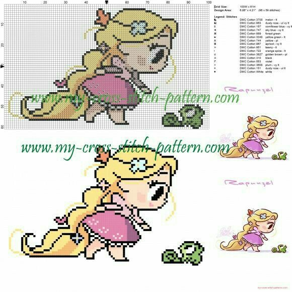Rapunzel chibi cross stitch pattern