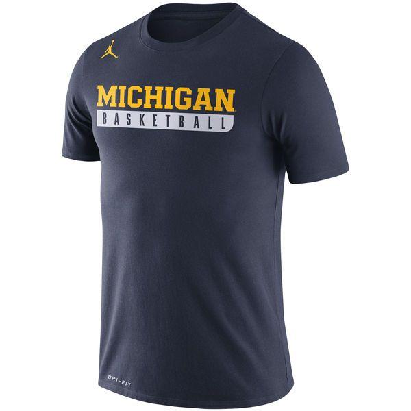 Men's Nike Navy Michigan Wolverines Basketball Practice Performance T-Shirt