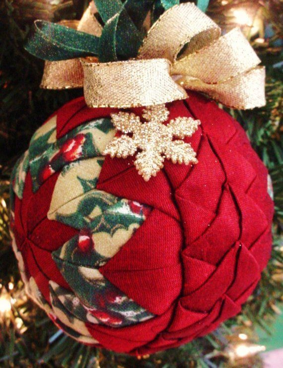 quilted christmas ornaments | Quilted Christmas Ornament Red Braided PLUS by ChristmasOrnament: