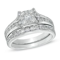 1 CT. T.W. Diamond Square Frame Cluster Bridal Set in 14K White Gold - Jewelry Rings PV - Gordon's Jewelers