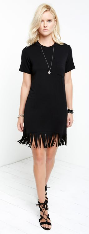 Swishy fringe trims the hem of a relaxed t-shirt dress in cool and comfortable jersey. #FifteenTwenty