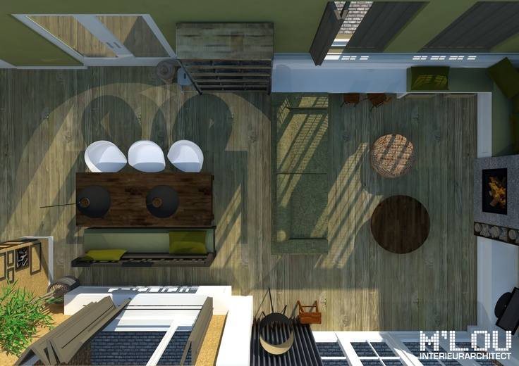 Project: Woonkamer te Hoofddorp (Noord-Holland) - impressie bovenaanzicht... M'lou interieurarchitect